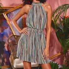 Multi Stripe Tie Back Halter Dress