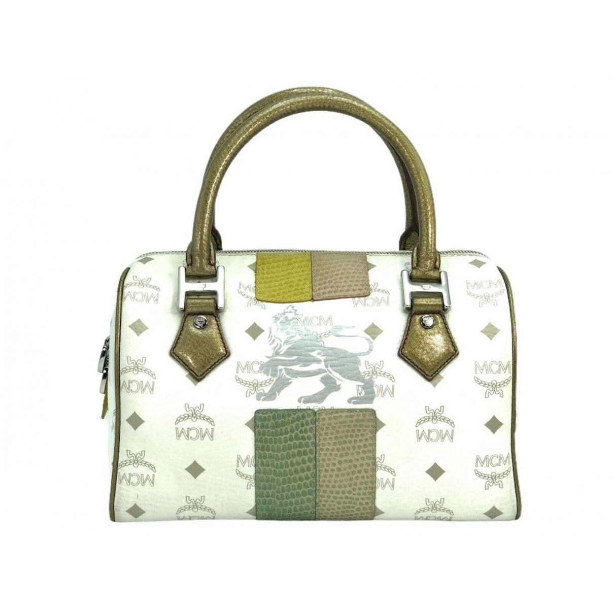 Mcm Boston White Linen handbag for Women \N