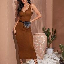 Vestido ajustado tejido de canale doble escote V sin bolsa