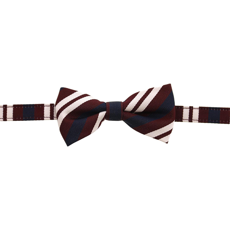 Janie And Jack Boy's Striped Bowtie Bow Ty - 2-5 - Burgundy Stripe