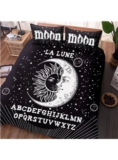 Black Sun And Moon Modern Style 4-Piece Washable Polyester Bedding Sets/Duvet Cover