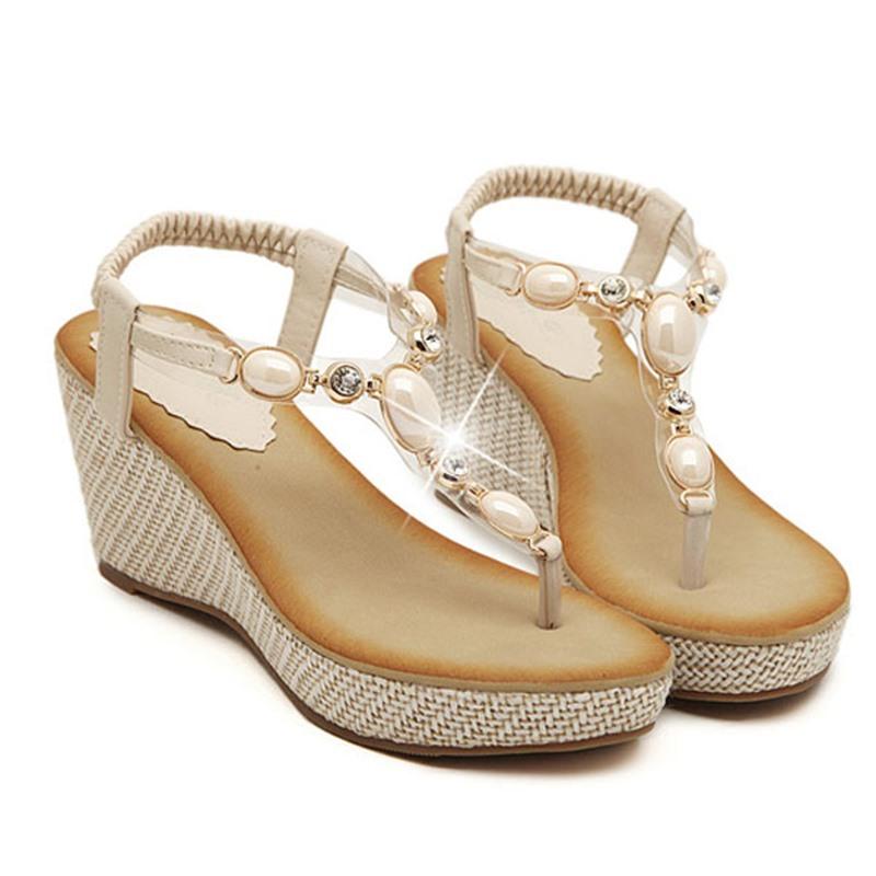 Ericdress Bohemian Handmads Beads Wedge Sandals