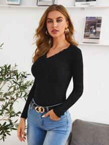 Solid Skinny V Neck Sweater