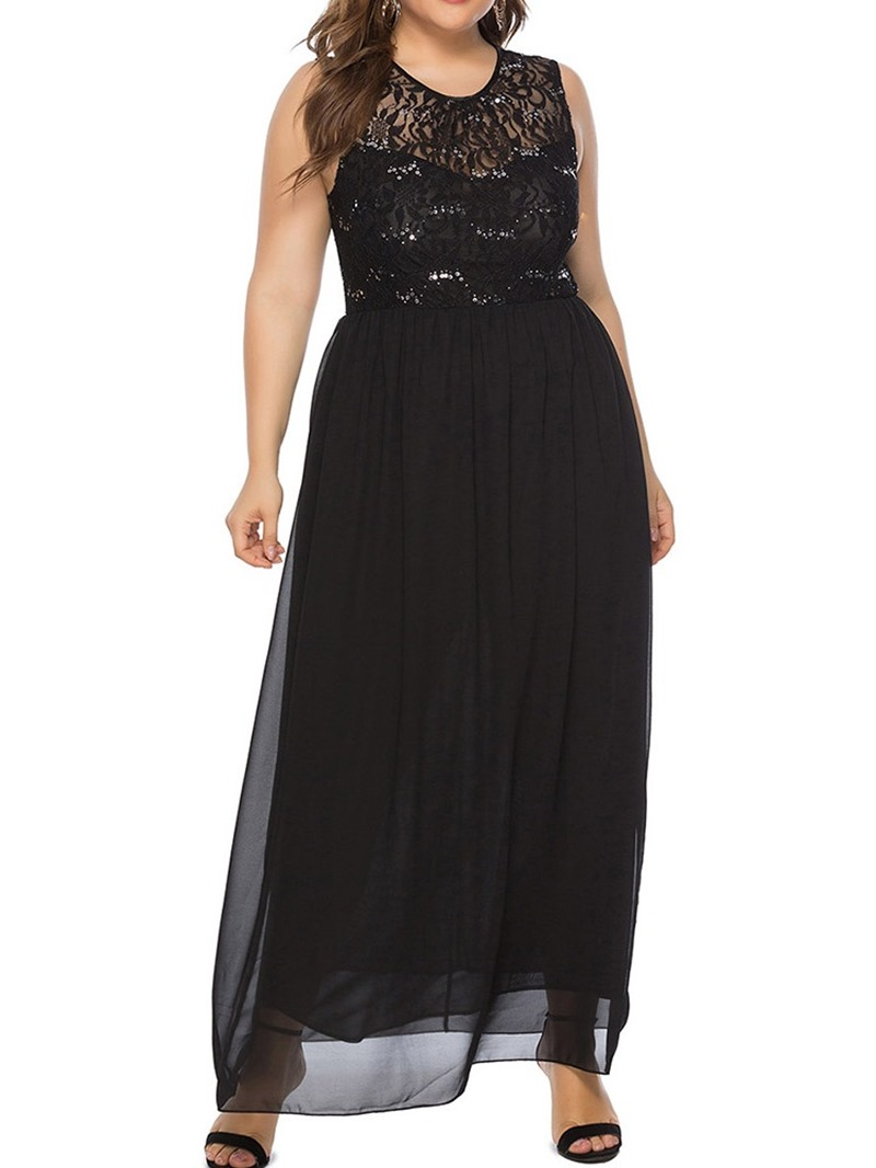 Ericdress See-Through Floor-Length Sleeveless A-Line Dress