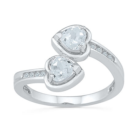 Womens Genuine White Sapphire Sterling Silver Cocktail Ring, 5 , No Color Family