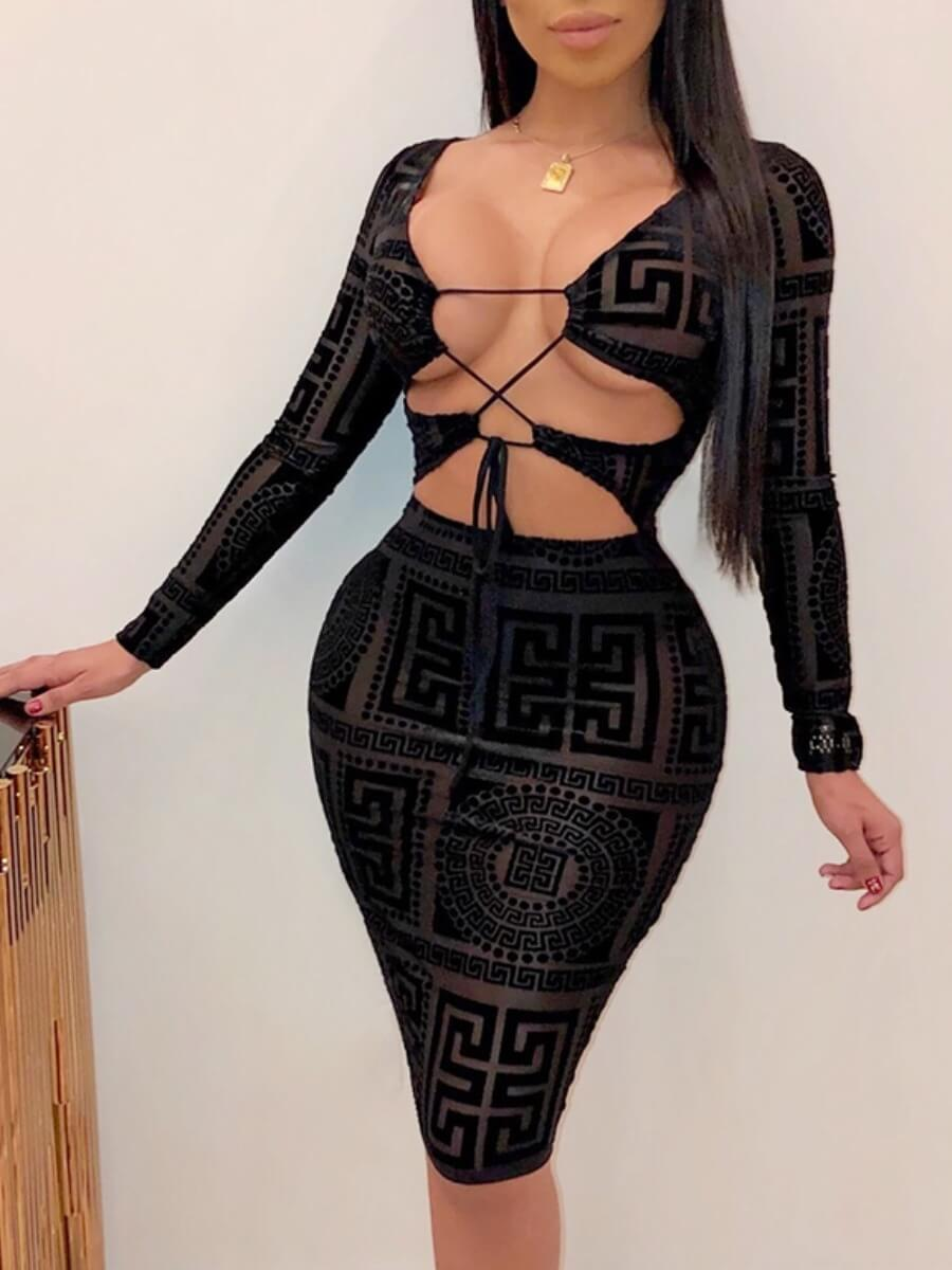 LW Lovely Sexy Print Bandage Hollow-out Design Black Knee Length Dress
