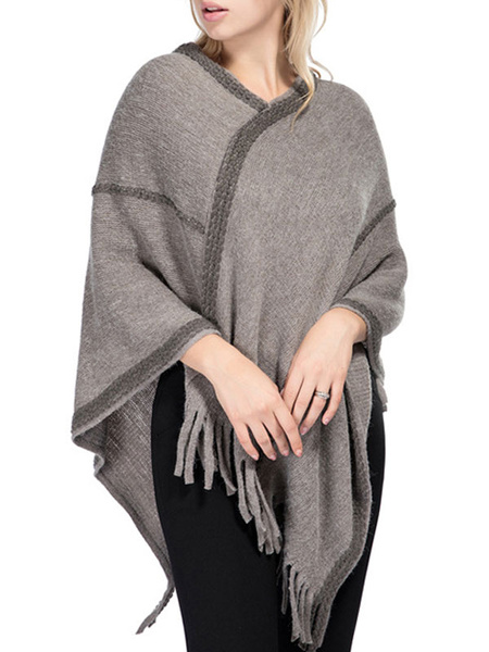 Milanoo Women Poncho V-Neck Camel Embroidered Patch Layered Fringe Wrap Cape