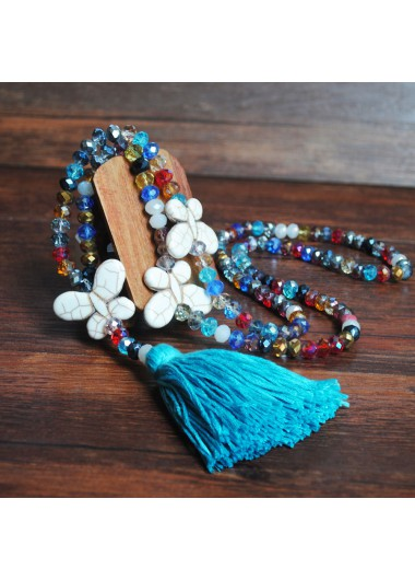 Mother's Day Gifts Bead Butterfly Design Blue Tassel Necklace - One Size