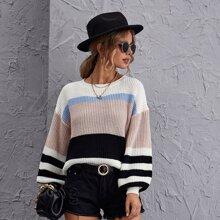 Drop Shoulder Color Block Sweater