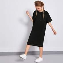 Girls Contrast Stitch Detail Midi Dress