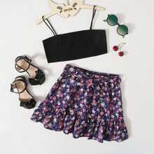 Girls Crop Cami Top & Ruffle Hem Floral Skirt Set