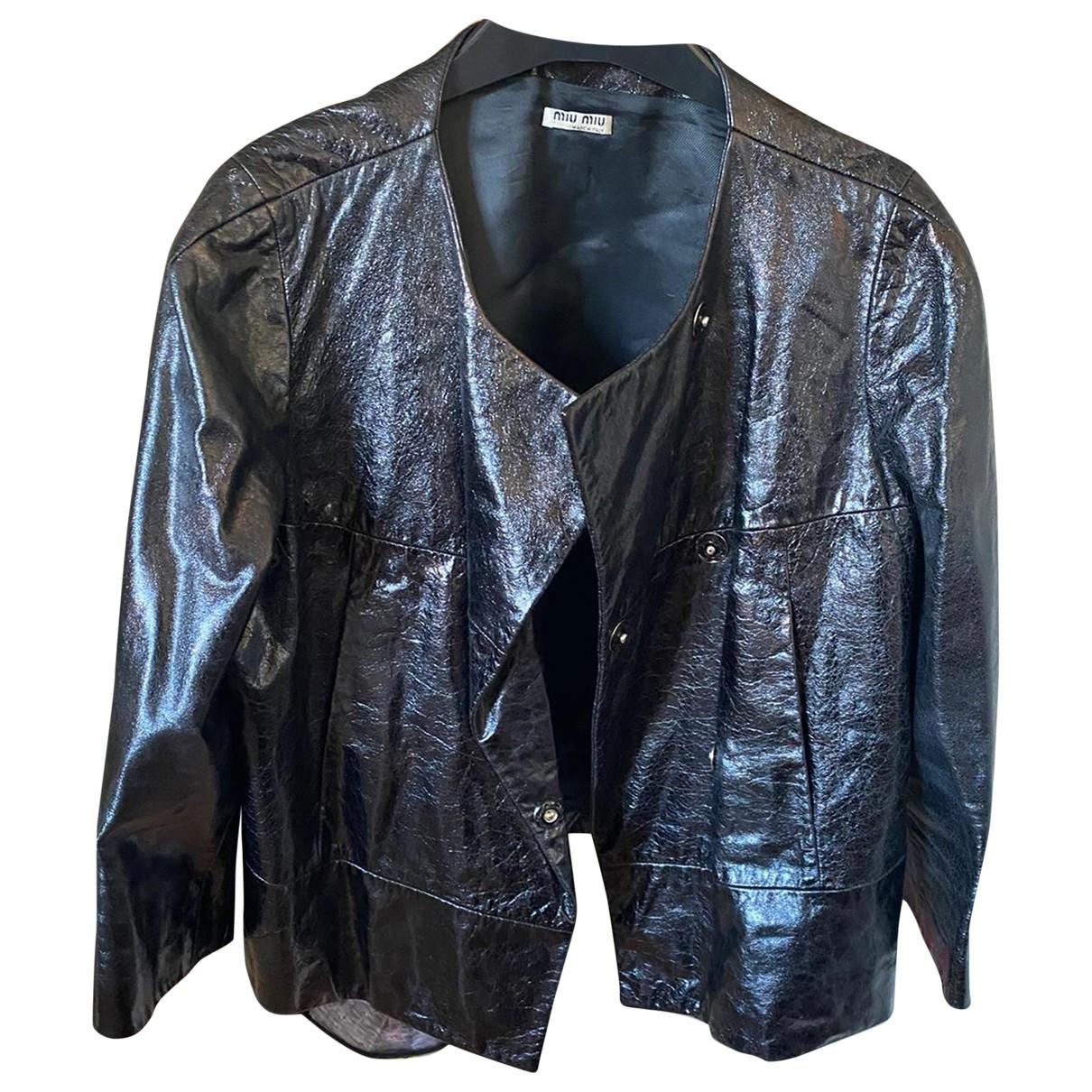 Miu Miu - Veste   pour femme en cuir - noir