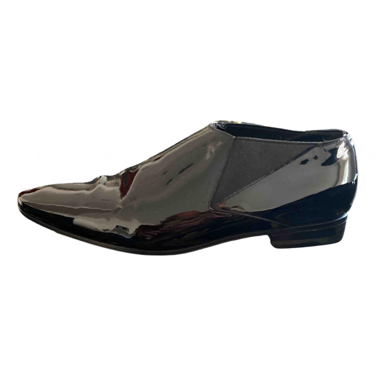 Saint Laurent \N Black Patent leather Flats for Men 40.5 EU