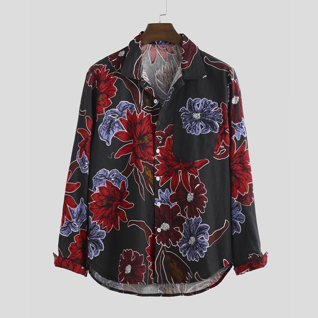 Men Cotton Oriental Pattern Print Long Sleeve Relaxed Shirts