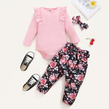 Baby Girl Ruffle Trim Bodysuit & Floral Pants & Headband