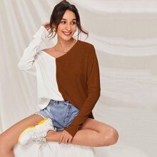 Batwing Sleeve Two Tone Rib-knit Top
