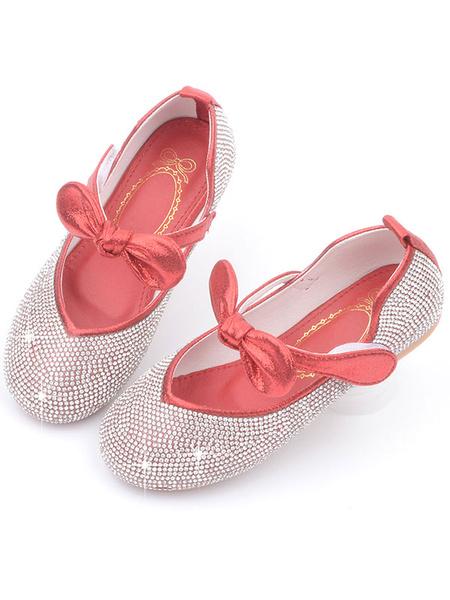 Milanoo Zapatos de niña de las flores Zapatos de fiesta con arcos de cuero de PU rosa para niños