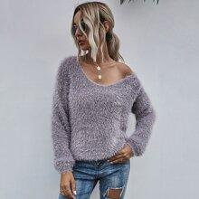 Flaumiger einfarbiger Strick Pullover mit V Kragen
