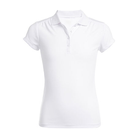 IZOD Performance Mesh Little & Big Girls Short Sleeve Wrinkle Resistant Moisture Wicking Polo Shirt, 20.5 Plus , White