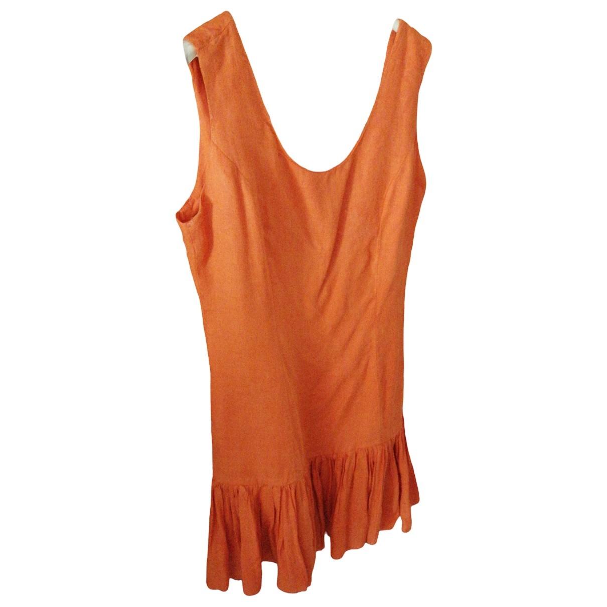 Non Signe / Unsigned \N Kleid in  Orange Leinen