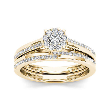 1/3 CT. T.W. Diamond 10K Yellow Gold Round Cluster Engagement Ring, 6 1/2 , No Color Family
