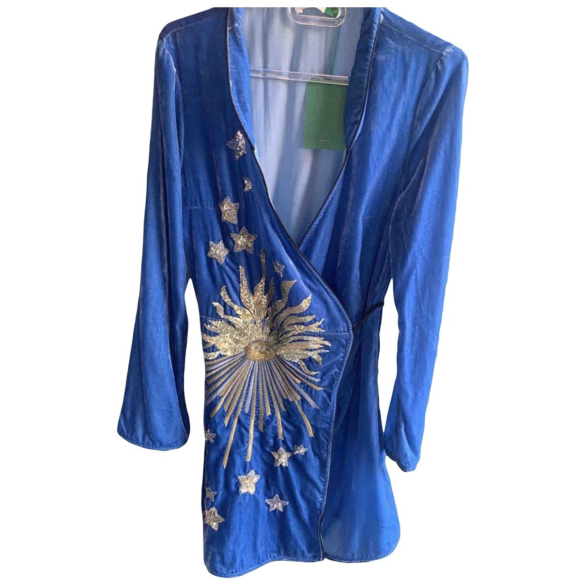 Rixo - Robe   pour femme en velours - bleu