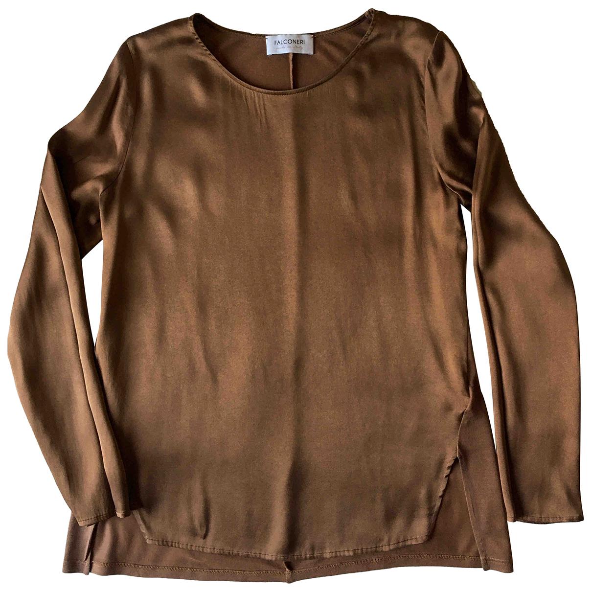 Falconeri - Top   pour femme en soie - camel