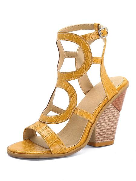 Milanoo Plata sandalias especial en forma de talon punta abierta del tamaño extra grande Zapatos de mujer