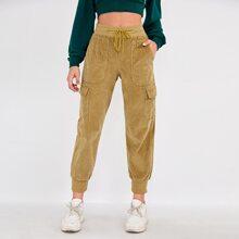 Drawstring Waist Cord Cargo Pants