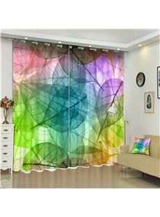 3D Dreamy Colorful Leaves Printed Creative and Modern Bedroom Polyester Custom Curtain