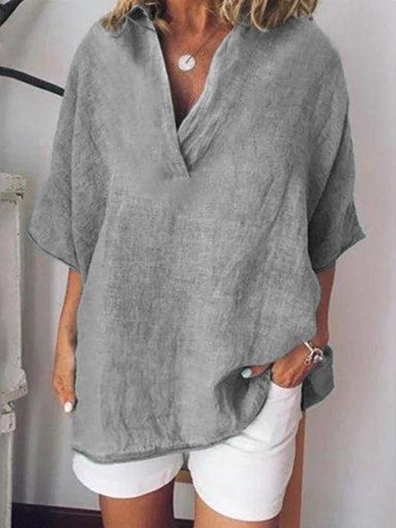 Ericdress V-Neck Mid-Length Half Sleeve Casual Single T-Shirt