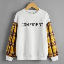 Pullover mit Plaid Muster an Ärmeln und Buchstaben Grafik