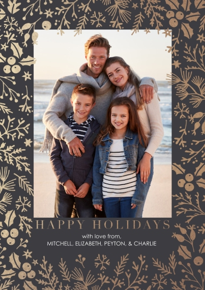 Christmas Photo Cards Flat Matte Photo Paper Cards with Envelopes, 5x7, Card & Stationery -Botanical Frame