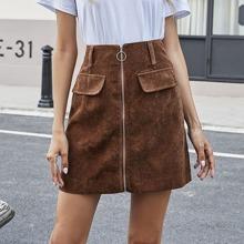 Corduroy Zipper Front Mini Skirt