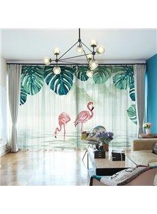 3D Flamingos Standing in the Lake Tropical Scenery Printed 2 Panels Custom Sheer