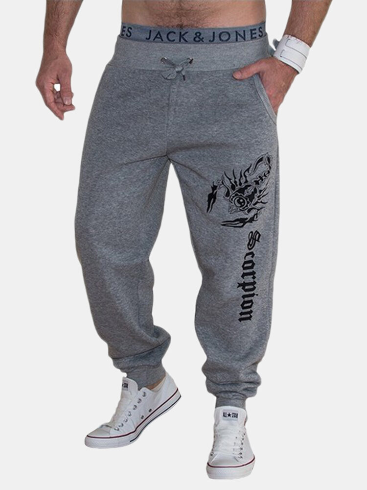 Mens Printed Drawstring Elastic Waist Loose Fitness Running Casual Sport Pants