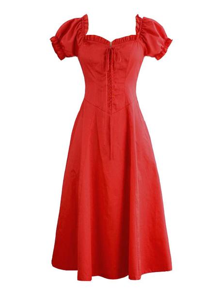 Milanoo Classic Lolita OP del soplo del vestido de la manga de encaje hasta vestidos de volantes Lolita de una pieza