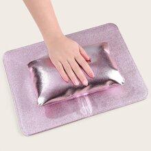 1 pieza almohada de mano de arte de uña plegable con 1 pieza alfombra