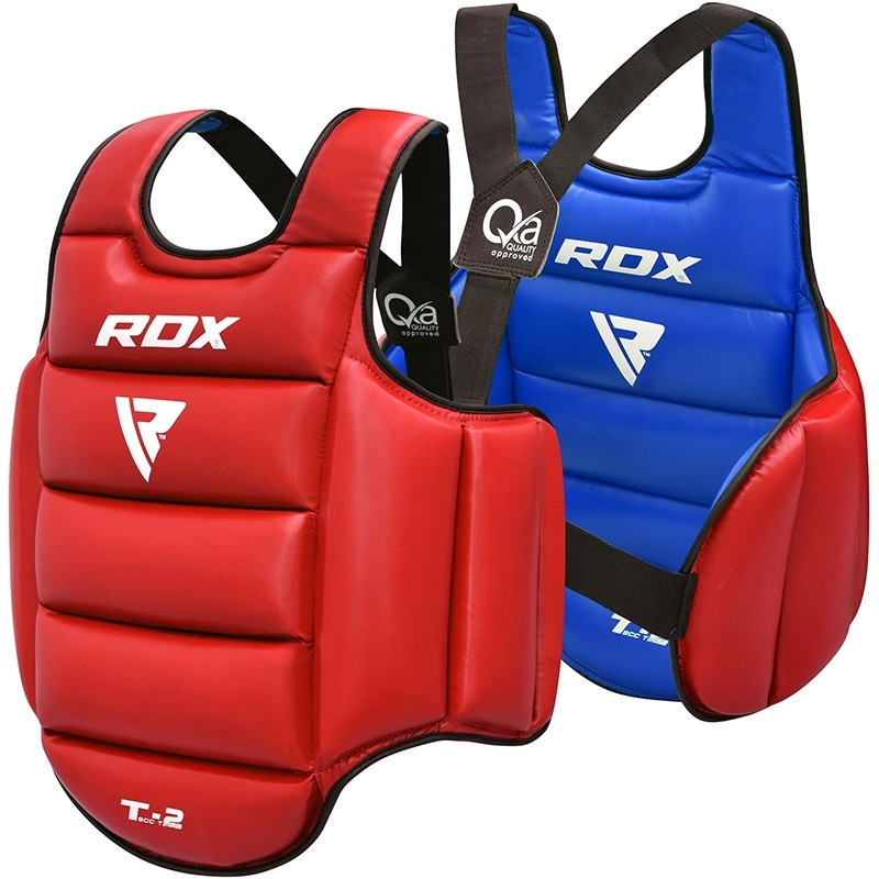 RDX T2 Taekwondo Plastron Petite/Moyenne Rouge Bleu Cuir PU