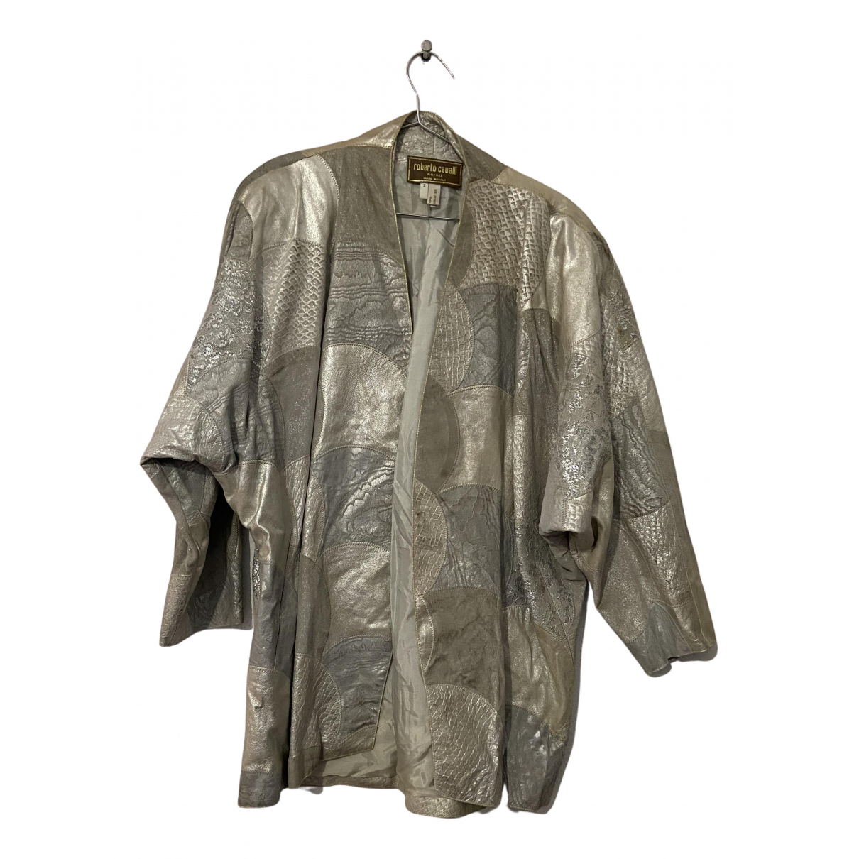 Roberto Cavalli N Silver Leather jacket for Women S International