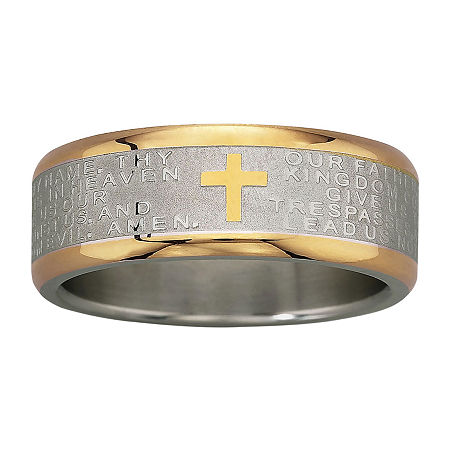 Men's Lord's Prayer Band Stainless Steel, 10 1/2 , No Color Family