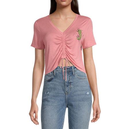 Miken-Juniors Womens V Neck Short Sleeve Graphic T-Shirt, X-large , Pink