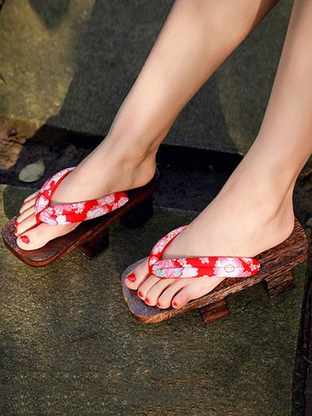 Milanoo Geta Sandals Japanese Costume Shoes Wooden Slippers Kimono Flip Flops