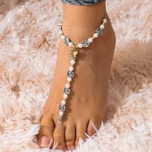 Faux Pearl Beaded Mittens Anklet