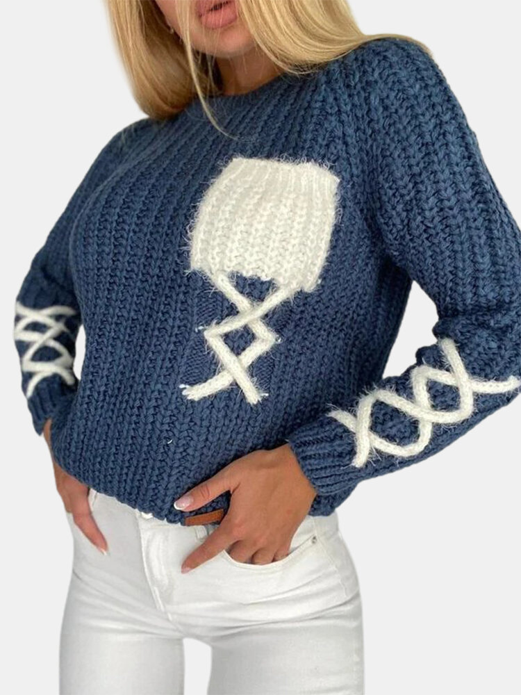 Solid Color Casual Knitting Pullover Sweater For Women