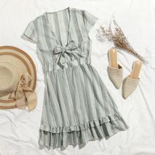 Tie Front Ruffle Hem Striped Dress