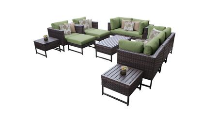 Barcelona BARCELONA-12h-BRN-CILANTRO 12-Piece Patio Set 12h with 4 Corner Chairs  2 Club Chairs  1 Armless Chair  1 Coffee Table  2 Ottomans  2 End