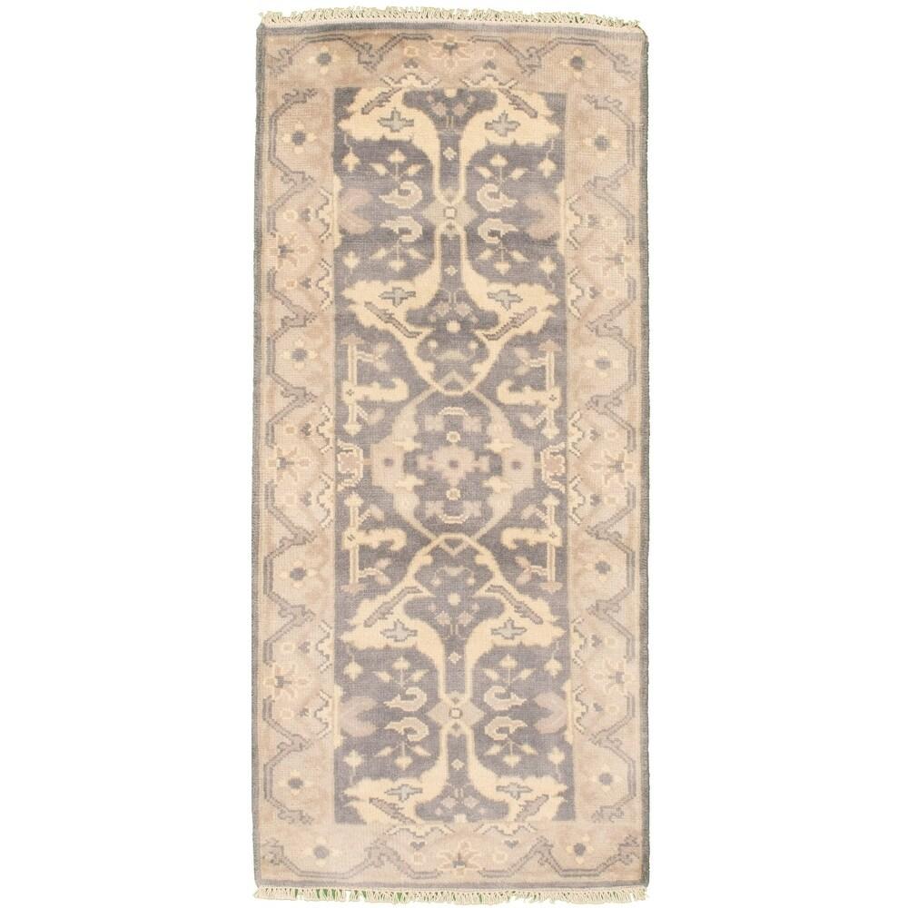 ECARPETGALLERY  Hand-knotted Royal Ushak Grey Wool Rug - 2'7 x 6'0 (2'7 x 6'0 - Dark Grey)