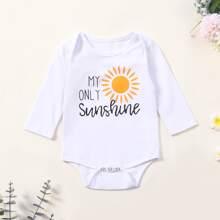 Baby Girl Slogan & Sun Print Romper