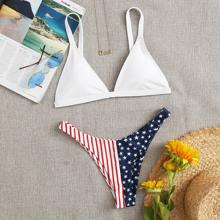Dreieckiger Bikini Badeanzug mit Streifen & Stern Muster